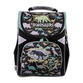 Ранец Стандарт GoPack 5001S, 34 х 26 х 13, для мальчика, Dinosaurs, чёрный/зелёный