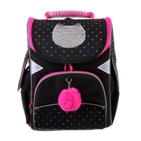 Ранец Стандарт GoPack 5001S, 34 х 26 х 13, для девочки, Shiny cat, чёрный