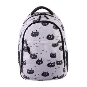 Рюкзак молодежный GoPack 131, 43 х 29 х 13, для девочки Black cats, серый