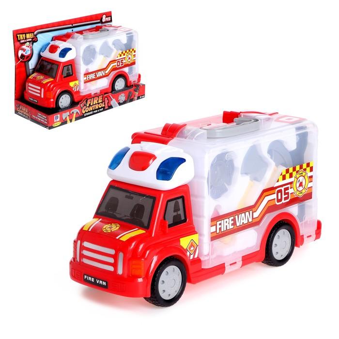 Набор пожарного в машине-кейсе «Огонь», световые и звуковые эффекты