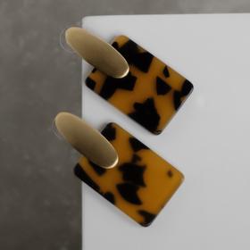 "Earrings assorted ""comme Il Faut"", rectangle, color leopard"