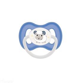 Пустышка латексная Canpol babies Bunny & Company, круглая, от 6-18 месяцев, цвет голубой