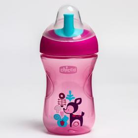 Чашка-поильник Chicco Advanced Cup, с трубочкой, от 12 месяцев, цвет розовый, рисунок МИКС, 266 мл