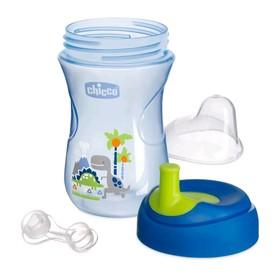Чашка-поильник Chicco Advanced Cup, с трубочкой, от 12 месяцев, цвет синий, рисунок МИКС, 266 мл