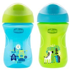 Чашка-поильник Chicco Easy Cup, от 12 месяцев, цвет сине-зелёный, рисунок МИКС, 266 мл