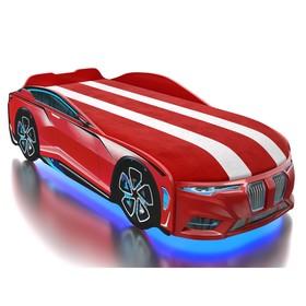 Кровать Romack Boxter-M, 80х180 см, подсветка дна и фар, ящик, обшивка матраса, цвет красный   50456