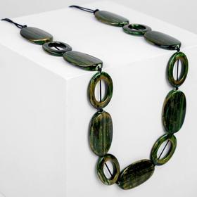 "Beads ""Nature"" hollow ovals, 60cm, green-gold"
