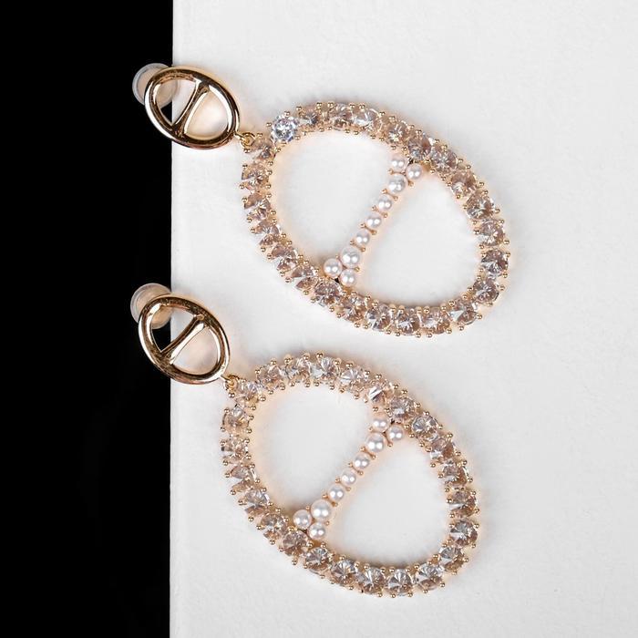 """Серьги с жемчугом """"Подарок"""" буква O, цвет белый в розовом золоте - фото 490919"""