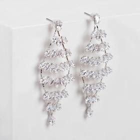 "Earrings ""Sparks"" six rows, color white silver"