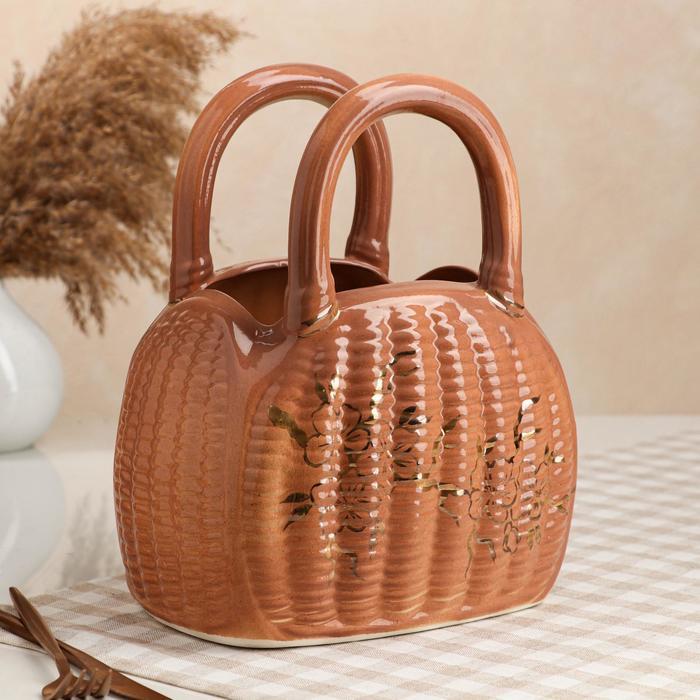 """Конфетница """"Саквояж"""", коричневая, керамика, 27 см - фото 234077"""