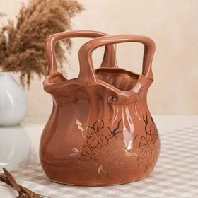 "{{photo.Alt || photo.Description || 'Конфетница ""Сумочка"", коричневая, керамика, 25 см'}}"