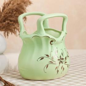 "{{photo.Alt || photo.Description || 'Конфетница ""Сумочка"", зелёная, керамика, 25 см'}}"