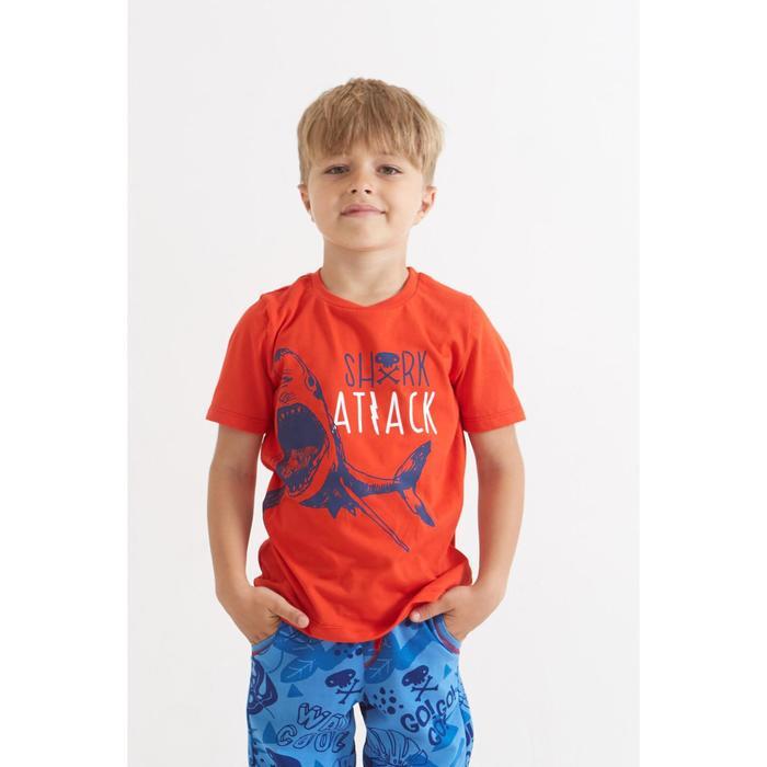 """Футболка для мальчика KAFTAN """"Surf"""" акула, р.32 (110-116 см), красный - фото 105486206"""