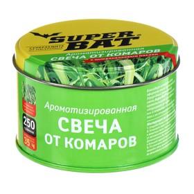 """Ароматизированная свеча от комаров"""" SuperBAT """",  на масле цитронеллы, в банке, 250 г"""