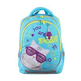 Рюкзак школьный с эргономичной спинкой Kite 700, 38 х 28 х 16, для девочки R, голубой