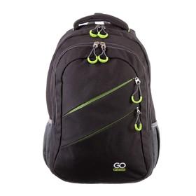 Рюкзак молодёжный с эргономичной спинкой GoPack 110, 50 х 33 х 15, для мальчика Сity, чёрный/зелёный