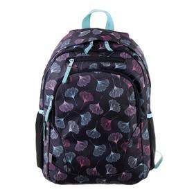Рюкзак молодежный GoPack 132, 42 х 32 х 16, для девочки Flowers, синий