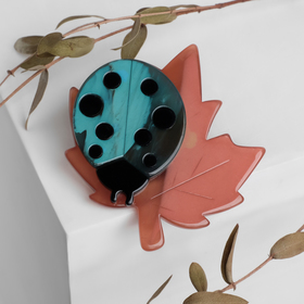 """Brooch """"ladybug"""" on the sheet, the color pink green"""