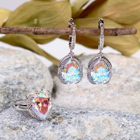 Headsets 2 PR earrings, ring Fianit drop in the frame, the colors of the rainbow in silver, size MIX