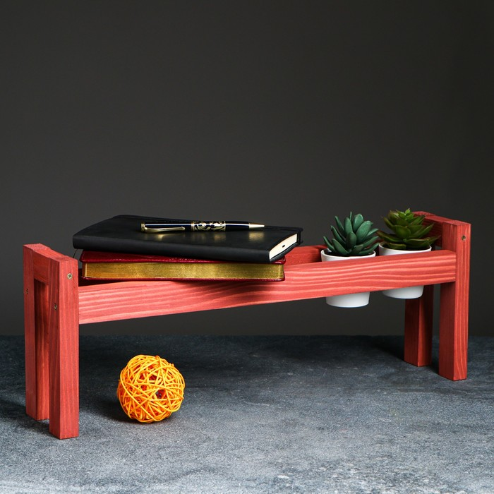 """Полка деревянная """"Ручная"""", цвет красный, 18 х 50 х 10 см"""