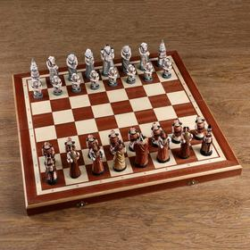 "Шахматы ""Мраморные"", 55,5Х55,5 см, король h=10.5 см, пешка h-7см"