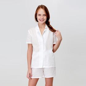 Рубашка с коротким рукавом для девочки MINAKU: Light touch цвет белый, рост 122