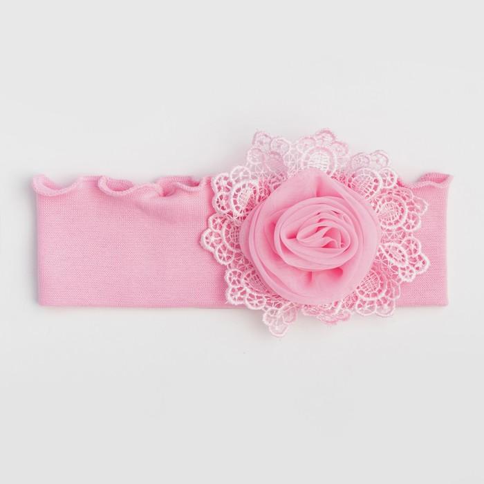 Повязка для девочки, цвет розовый, размер 46-50 - фото 76205252