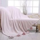 Плед Tassel, размер 220 × 230 см, пудровый