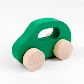 Каталка- Машинка деревянная, зелёная