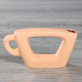 """Ваза настольная """"Чашка"""", персиковый цвет, глазурь, 7 см"""