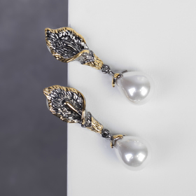 """Earrings with pearl """"Verinica"""" Lily and drop, color white grey gold"""