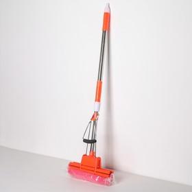 Швабра PVA с двойным роликовым отжимом, телескопическая ручка 96-123 см, насадка 27 см, цвет МИКС