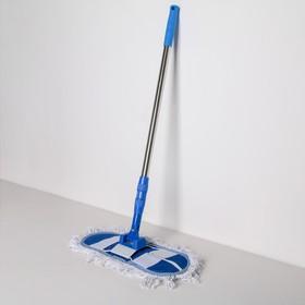 Швабра плоская Доляна, телескопическая стальная ручка 81-122 см, насадка х/б 36×12 см, цвет синий