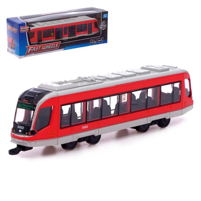 Трамвай металлический «Город», масштаб 1:43, инерция, серый