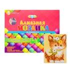 Алмазная мозаика с полным заполнением, 17 × 22 см «Котик с цветами»