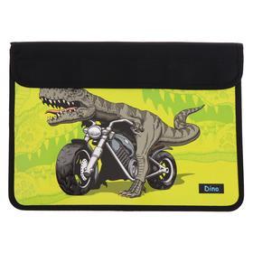 Папка для тетрадей А4, клапан на липучке, ламинированный картон/пластик, объёмная, для мальчика «Динозавр Байкер»