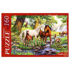 Пазл 160 элементов «Лошади на водопое»