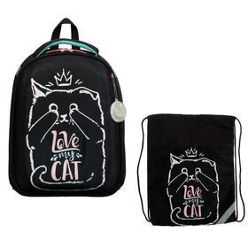 Рюкзак каркасный, Luris «Колибри 1», 38 х 28 х 18 см, наполнение: мешок для обуви, «Кошка»