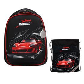 Рюкзак каркасный, Luris «Колибри 1», 38 х 28 х 18 см, наполнение: мешок для обуви «Авто красное»