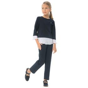 Блузка для девочек, рост 140 см, цвет синий
