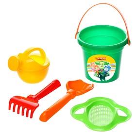 Набор для игры в песке: ведро-крепость малое, ситечко, совок, лейка, ФИКСИКИ