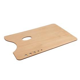 Rectangular wooden palette 38*27cm, 5 holes for brushes