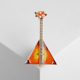 "Brooch ""Balalaika"" musician, color orange gold"