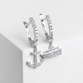 """Earrings """"Anchor and ship"""", the color white in silver"""