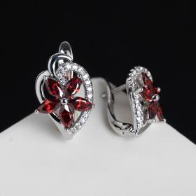 "Earrings with rhinestones ""Tsvetik"" radiant, color blue in silver"