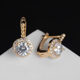 "Earrings with rhinestones ""Lamba"" round, white gold"