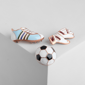 """Brooch (set of 3 pieces) """"Football"""", colored in pink gold"""