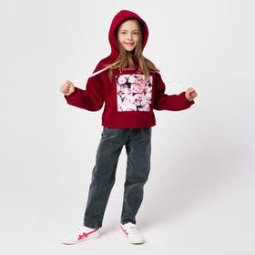 Толстовка для девочки, цвет бордовый, рост 128 см