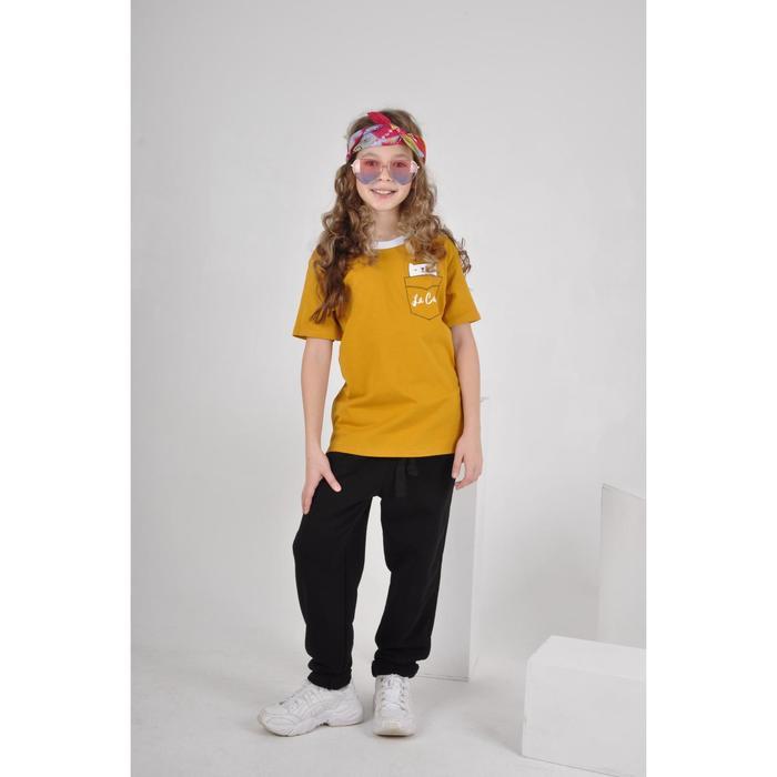 Футболка для девочки, цвет жёлтый, рост 140 - фото 105703969