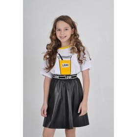 Футболка для девочки, цвет белый, рост 128